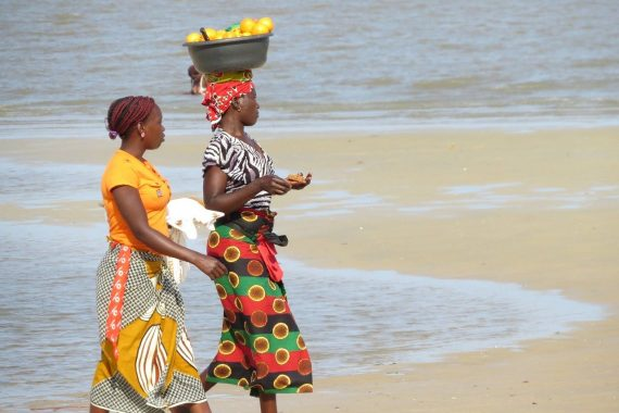 women on beach in Mozambique